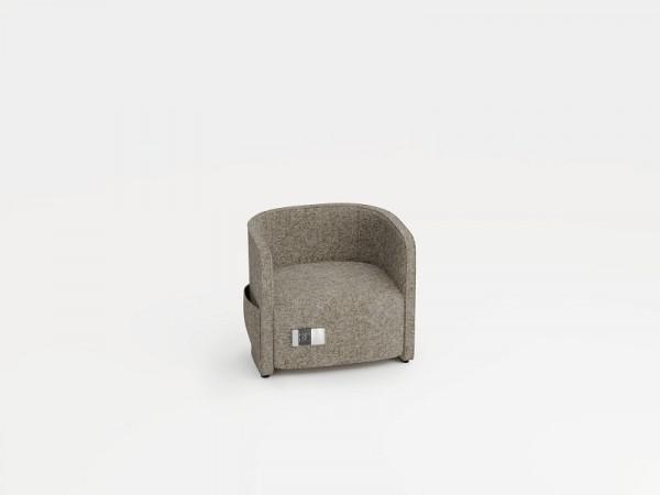 Bisley Einsitzer mit niedriger Rückenlehne, Farbe: beige, Steckdose + 2xUSB + 2 Seitentaschen, VIV1PS2WM0120